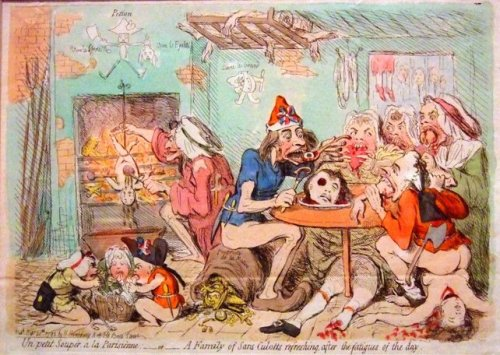Gillray's interpretation of the supporters of the French Revolution, the asns-culottes